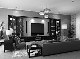 Upscale Living Room Furniture Black And White Living Room With Accent Color Carpeted Flooring