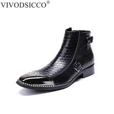 vivodsicco mens flat chelsea boot imported italian leather square toe slip on dress boots cap toe stretch