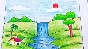 Cách vẽ tranh thác nước đổ | How to draw water fall | Tổng hợp những bức  tranh đẹp nhất