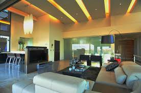 Interior Modern Lighting Living Room Led With Gold Shades Over