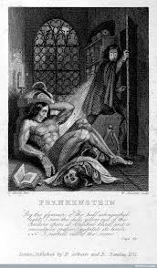 victor frankenstein observing the first stirrings of his creature in an engraving by theodor von holstafter for the frontispiece of frankenstein by mary
