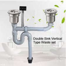 Talea Double Sink Vertical Type With Overflow Pipe Kit Basin Waste