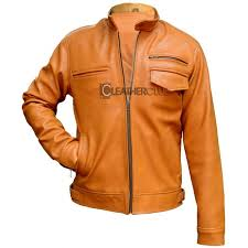 brown color leather jacket