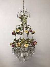 vintage italian crystal chandelier with porcelain flowers 1