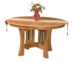 Amish Round Dining Table Arts Crafts Mission Base Solid Wood Leaf