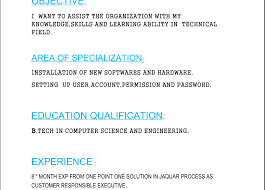 B Tech Engineer's Resume Read Area Of Specialization India New Resume B Tech