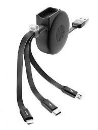 Аксессуар Roll C Type C Micro USB 1m Black <b>кабель рулетка</b> с ...