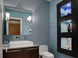 Delighful Simple Half Bathroom Designs Contemporary Blue With Builtin Shelves Throughout Design Decorating