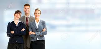Group Of Business People Businessman Over Blue Office Background