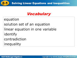 voary equation solution set of an equation