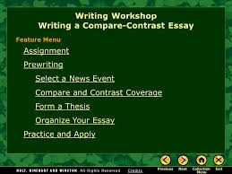 writing workshop writing a compare contrast essay assignment 1 writing workshop writing a compare contrast essay assignment prewriting select a news event compare and contrast coverage form a thesis organize your
