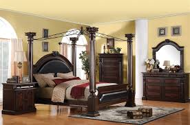 Roman Empire Canopy 6 Piece Bedroom Set In Dark Cherry Two Tone Finish By  Acme   19340