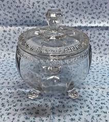 vintage small glass footed candy dish w lid