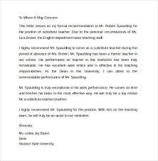 Letters Of Recommendation For Educators Letter Of Recommendation For Substitute Teacher Template Madritur