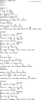Light On Lyrics Leave A Light On By Garth Brooks Lyrics And Chords