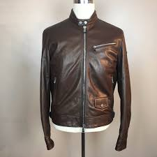 aston martin by ett brown leather cafe racer biker jacket med rrp Â1200 nwot