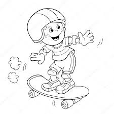 coloring page outline of cartoon boy on the skateboard coloring book for kids vector by oleon17