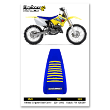 2001 2017 suzuki rm 125 250 all blue with yellow ribbed seat cover by enjoy mfg