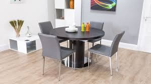 dark wood round extending dining table white or grey faux leather with regard to decor 6