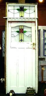 old vintage antique leaded stained glass door frame transom window panels windows