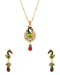 voylla gold plated peacock pendant set with chain adorned with cz and colored stones