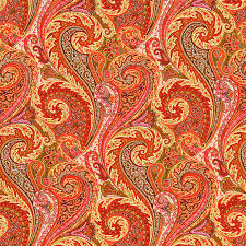 Small Picture Orange Linen Paisley Upholstery Fabric by the Yard Pink Orange
