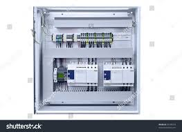 electricity distribution box wires circuit breakers stock photo cost to replace fuse box with breaker panel electricity distribution box with wires and circuit breakers (fuse box)