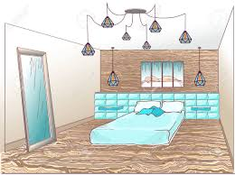 soft teal bedroom paint. Interior Bedroom Loft With A Bed Soft Quilted, Wooden Wall And Floor, Lamp Teal Paint O