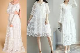 Dress brokat memancarkan pesona yang elegan ketika dipakai. 7 Dress Brokat Warna Putih Yang Cocok Untuk Lebaran Termasuk Untuk Hijaber Womantalk