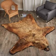 foot inch cm grizzly bear rug
