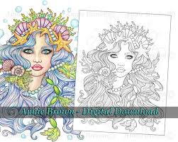 Mermaid and wreath coloring book page. Mermaid Coloring Page Line Art Instant Download Printable Etsy