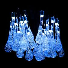 Blue Outdoor Lights Solar Fairy Lights Led Water Drop Solar Operated Fairy Lights