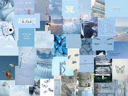 Blue Collage Aesthetic Laptop Wallpaper ...