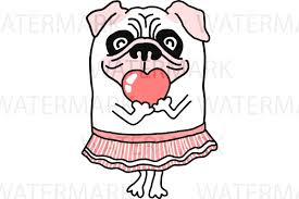 cute pug drawing. Beautiful Drawing Cute Pug Dog With Pink Heart  SVGJPGPNG Hand Drawing Example Inside G