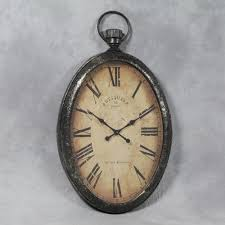 et110 large antiqued oval pocket watch wall clock