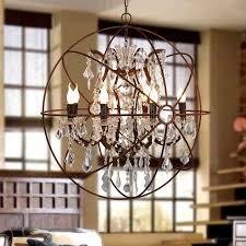 industrial loft 6 lights retro clear crystal hanging sphere rust metal orb chandelier