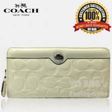 COACH F46223 Gallery Embossed Leather Accordion Zip Around Wallet