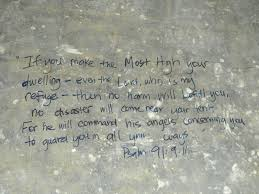 have family and friends write scripture on garage floor when you move into a new house