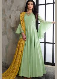 Frock Suit Neck Design Prominent Cotton Green Handwork Readymade Anarkali Suit