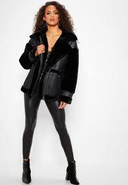 faux fur longline aviator jacket