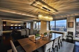 contemporary dining room with rectangular crystal chandelier