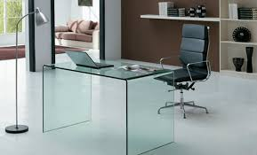 clear tempered glass office desk