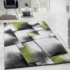 Wohnzimmer Teppich Kurzflor Grün Grau Teppichcenter24