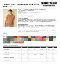 Comfort Colors Shirt Size Chart Comfort Colors Size Chart Comfort Colors Size Chart Mens