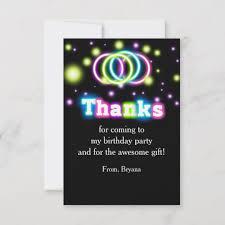 Glow Birthday Party Neon Lights Thank You Card | Zazzle.com