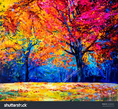 oil painting landscape colorful autumn trees modern save to a lightbox