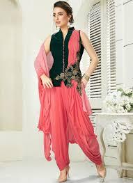 Pink Velvet Suit Design Embroidered Green And Pink Velvet Designer Salwar Suit