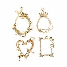 details about 4pcs antique fl crown metal frames uv resin diy jewelry making pendant