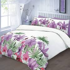 floral quilt duvet cover amp pillowcase teal pink lilac bedding