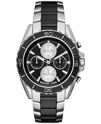 michael kors men s chronograph jetmaster two tone carbon fiber michael kors men s chronograph jetmaster two tone carbon fiber stainless steel bracelet watch 43mm mk8454